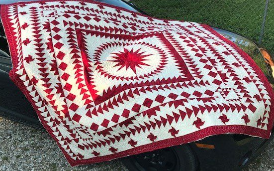 quilt red and white, #paperpieced quilt