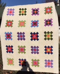 granny square quilt: paper pieced pattern: flying geese pattern: quilt patterns: circling geese pattern: no curved piecing circling geese: www.fortheloveofgeese.com: red and white medallion quilt